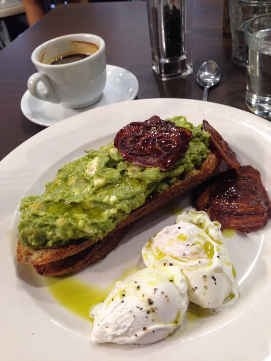 Avocado & Persian fetta smashed together on top of toasted multi-grain sour dough with two poached eggs & crispy pancetta. Hold me.